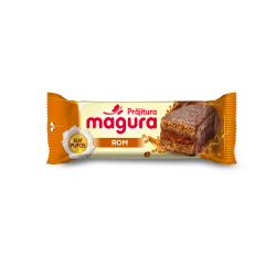 Prajitura cu crema de rom si glazura Magura